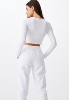 Factorie - Key hole front long sleeve top - white