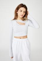 Factorie - Key hole front long sleeve top - silver marle