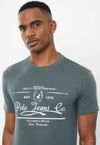 POLO - Pjc Jake short sleeve printed logo tee - charcoal