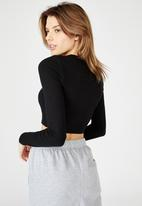 Factorie - Key hole front long sleeve top - black