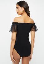 VELVET - Bardot frill sleeve combo bodysuit - black