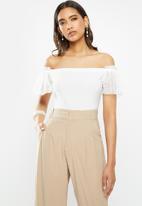 VELVET - Bardot frill sleeve combo bodysuit - white