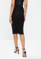 VELVET - Mesh gauged pencil skirt - black