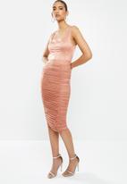 VELVET - Mesh gauged pencil skirt - pink