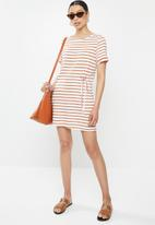 Brave Soul - T-shirt dress with tie - white & brown