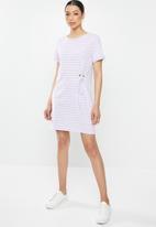 Brave Soul - T-shirt dress with tie - purple & white