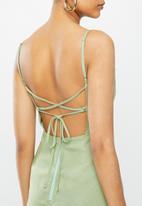 Blake - A-line mini dress with tie back - sage