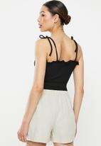 Brave Soul - Tie strap frill button thorugh bodysuit - black