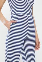 Brave Soul - Strapy yarn dye stripe jumpsuit - navy & white