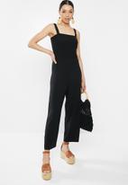 Brave Soul - Tie up vest rouched jumpsuit - black