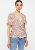 Brave Soul - Peplum all over print shirt - multi