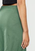 Blake - Linen blend button down aline mini skirt - bottle green