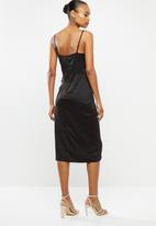 MILLA - Satin wrap dress - black