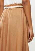 MILLA - Linen paperbag skirt - tan