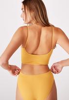 Cotton On - Seamfree rib ballet bralette - mustard