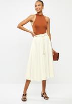 MILLA - Linen paperbag skirt - white