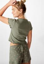 Cotton On - Pointelle bed T-shirt - khaki