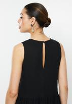 MILLA - Sleeveless cotton dress - black