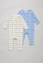 Cotton On - 2 Pack long sleeve snap romper - multi