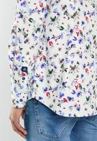 Jonathan D - Casual long sleeve slim fit printed shirt - white