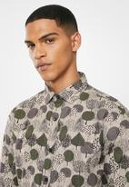 Jonathan D - Casual long sleeve slim fit printed shirt - khaki