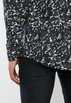 Jonathan D - Casual long sleeve slim fit printed shirt - black