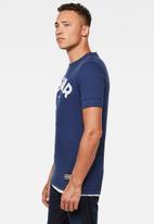 G-Star RAW - Felt applique logo slim r short sleeve tee - blue
