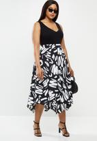 Glamorous - Paint stroke midi skirt - black & white