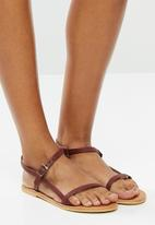 Superbalist - Orie leather ankle strap sandal - burgundy