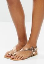 Superbalist - Dori leather ankle strap sandal - rosegold