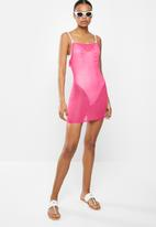 Missguided - Sheer rouched beach cover up - pink