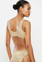 Missguided - Textured animal print tie front bikini top - yellow & black