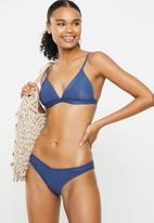 Cotton On - High side brazilian bikini bottom - marina blue rib