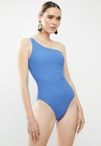 Sun Love - One shoulder one piece ribbed - blue