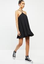 Blake - Chiffon trapeze pleated mini dress - black