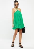 Blake - Chiffon trapeze pleated mini dress - green