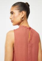 Blake - Tiered turtleneck mini dress - rust