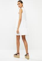 Blake - Tiered turtleneck mini dress - white