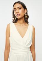VELVET - Rayon linen wrap front midi dress - ivory