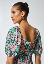 Superbalist - Sweetheart neckline puff sleeve dress  - multi