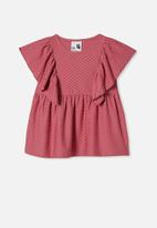 Cotton On - Francis short sleeve frill top - berry