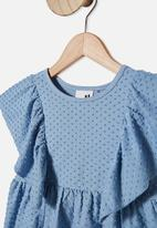 Cotton On - Francis short sleeve frill top - blue
