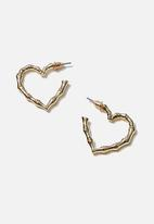 Rubi - Luxe layers medium textured heart hoop - gold