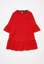 POLO - Girls Carey bell sleeved dress - red