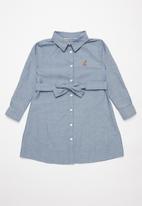 POLO - Girls Pam long sleeve belted dress - blue