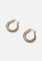 Rubi - Luxe layers small rough texture hoop - gold