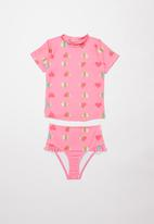 POP CANDY - Foil hearts two piece swimsuit - coral
