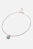 Rubi - Treasures short pendant necklace - turquoise