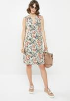 edit - Sleeveless mandarin short dress - multi