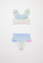 POP CANDY - Ombre mermaid print frill swimsuit - multi